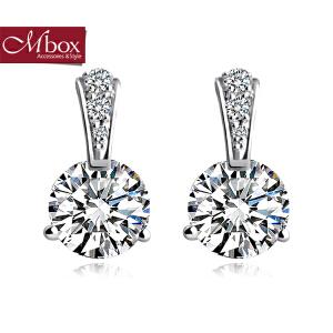 新年礼物Mbox耳钉 气质女款韩国版S925银镶嵌施华洛世奇锆石耳钉 爱如钻石