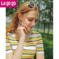 Lagogo/拉谷谷2019年夏季新款时尚V领短袖条纹针织衫HAMM223C23