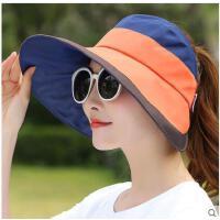 拼色骑行空顶帽可折叠帽子大沿沙滩帽遮阳帽女防晒防紫外线拼色太阳帽