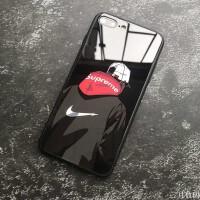 苹果 superme潮牌苹果X手机壳情侣个性iPhone6plus创意7p玻璃新款8男女 iPhoneX 背影玻璃