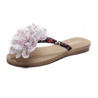 WARORWAR新品YM6-167夏季欧美磨砂平底鞋舒适花朵人字女士凉拖鞋