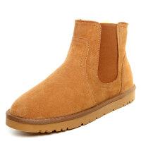 雪地靴男冬季加绒保暖厚高帮防水防滑情侣中筒切尔西面包棉鞋srr