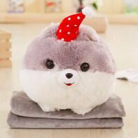 可爱狗抱枕被子两用韩国卡通多功能毯子加厚车载个性珊瑚绒三合一 抱枕30X40cm毯子1x1.7米
