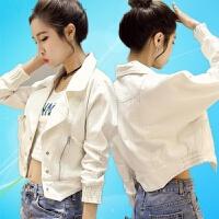 2018 新款2018春秋新款韩版女装白色牛仔外套修身长袖时尚小夹克短外套女性感潮流 白色