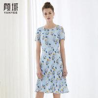 颜域品牌女装2018夏季装新款X型雪纺圆领收腰印花显瘦短袖连衣裙