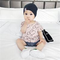 婴儿衣服宝宝套装夏装新生儿纯棉短袖小鸡两件套薄款外出服潮