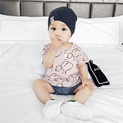 婴儿衣服宝宝套装夏装新生儿纯棉短袖小鸡两件套薄款外出服潮 发货周期:一般在付款后2-90天左右发货,具体发货时间请以与客服协商的时间为准