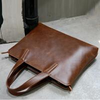 韩版男士手提包商务皮包休闲单肩包斜挎包时尚定型公文包潮流 咖啡色