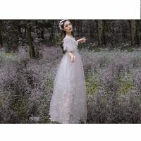 夏季超仙连衣裙白色蓬蓬网纱气质显瘦立体蝴蝶刺绣海边度假裙长款 白色