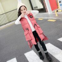 儿童马甲2018冬装新款韩版女童棉马甲中大童中长款加厚连帽棉衣