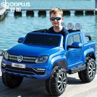 大众儿童电动车皮卡四轮童车可坐人宝宝玩具大双人带遥控越野汽车
