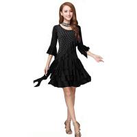 广场舞服装套装裙 跳舞蹈服装 女拉丁舞练习服装连衣裙 短袖
