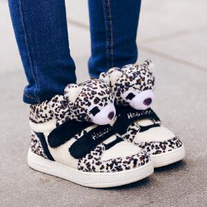哈皮安妮 儿童运动鞋女童鞋冬季新款保暖透气男童休闲卡通动物小孩软底童鞋