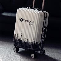 铝框箱行李箱女拉杆箱万向轮20寸学生箱子拉箱潮24寸男拖箱旅行箱 世界白色【减震轮 铝框】 20寸