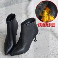 高跟鞋女冬短靴细跟2018新款韩版百搭尖头小跟裸靴女士加绒瘦瘦靴SN9740