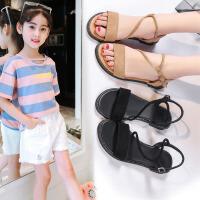 夏季韩版女童凉鞋7-9-15岁初中小学生平底公主鞋少女孩罗马鞋