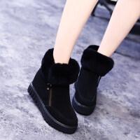 2018冬季新款内增高兔毛雪地靴女韩版百搭平底棉鞋厚底真皮短靴子