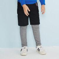 【2件3折到手价:35.7】美特斯邦威旗下moomoo童装男童裤子冬装韩版潮假两件拼色加绒中大儿童长裤