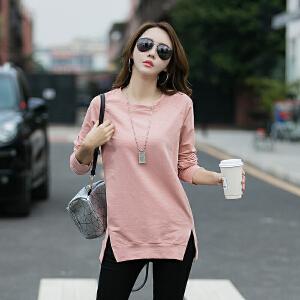 棉长袖t恤女宽松时尚新款韩版百搭纯色圆领打底衫女上衣潮
