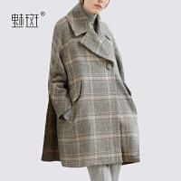 【新年狂欢到手价:356】魅斑2019新款秋冬装西装领格子斗篷毛呢大衣宽松显瘦羊毛呢子外套