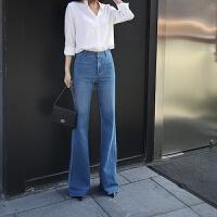 牛仔喇叭裤女高腰长裤新款拖地长款韩版宽松阔腿裤女复古显瘦 深蓝色