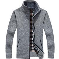 男士春季链毛衣开衫外套针织衫男加厚立领宽松高领毛衣