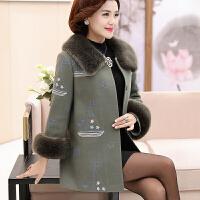中年妈妈装冬装毛呢外套加厚中长款40岁50中老年女装羊绒大衣保暖