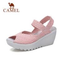 骆驼女鞋2018夏新款鱼嘴凉鞋 厚底编织高跟鞋 时尚女式坡跟松糕鞋