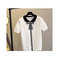 1甜美娃娃领条纹蝴蝶结翻领针织衫 短袖学院风针织T恤女上衣春 均码
