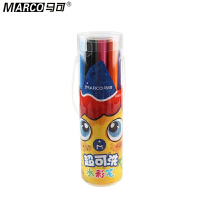 Marco马可 1630-12P水彩笔 12色可洗水彩笔 筒装水彩笔 儿童涂鸦笔 箭形笔头水彩笔 勾线涂色两用水彩笔