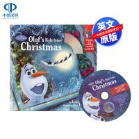 现货 英文原版 冰雪奇缘 雪宝的圣诞夜 儿童绘本付CD Olaf's Night Before Christmas Bo