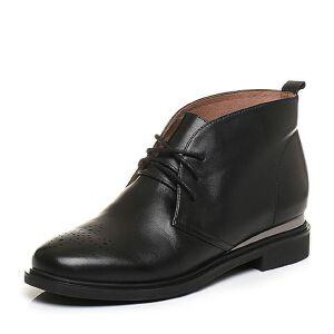 Tata/他她2017冬小牛皮英伦雕花绑带及踝靴女休闲靴FS540DD7