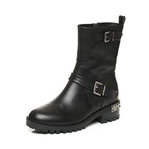 Belle/百丽冬季专柜同款黑油皮牛皮女皮靴(绒里)BLQ62DZ6