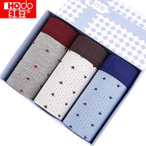 红豆内裤男士内裤再生纤维素纤维枫叶印花3条盒装平角内裤 三条一组