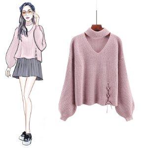 VIPEBUY 纯色针织衫女2018秋季新款韩版女装套头圆领长袖打底学生宽松毛衣