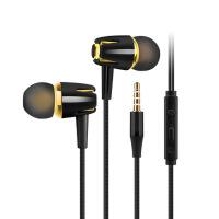 手机耳机线控重低音音乐运动高保真苹果oppo耳机vivo华为小米入耳式手机K歌HiFi耳塞-黑金