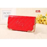 长款女士钱包单拉链女式手机钱包手提包压花条纹镶五金 红色