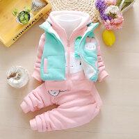 女宝宝秋冬装套装6-12个月婴儿衣服7加绒8加厚9卫衣三件套0半1岁2