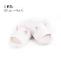 日式猫耳拖鞋家居女夏防滑室内可爱情侣卡通拖鞋ins猫咪外穿凉拖 白色 白喵