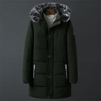 冬季棉衣男中长款加厚保暖冬装大码可脱卸帽棉袄男装休闲外套 绿色 L