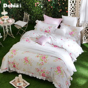 多喜爱新品全棉印花四件套甜美花卉床上用品套件图尔花园