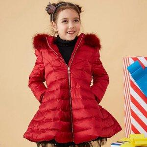 【2件2.5折到手价:125】美特斯邦威旗下Moomoo童装女童真毛领中长款收腰羽绒服冬季中大童保暖外套