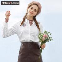 【全场2件2.5折,到手价:42.3】美特斯邦威2019春装新款绣花衬衣女长袖衬衫森女日系百搭商场款