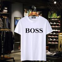男士夏新BOSS纯棉男T恤圆领半袖宽松短袖白色背心休闲体恤打底衫 乳白色BO 3X