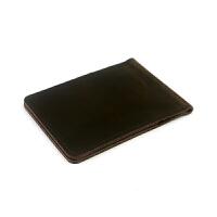 没有名字手作 手工色男钱夹短款钱包女学生票据证件夹复古 深棕色