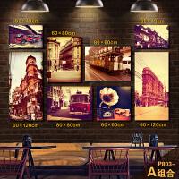 老上海照片装饰画组合复古怀旧风景挂画餐厅饭店咖啡厅黑白无框画 组合 拼图 15mm厚板 组合 拼图