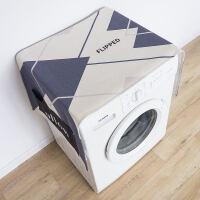 蓝灰简约北欧滚筒洗衣机罩布艺防尘罩单开门冰箱盖布棉麻盖巾 140X55cm