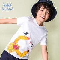 水孩儿souhait男童短袖夏季新款T恤圆领衫个性印花休闲上衣AQAXM566