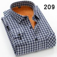 男士保暖衬衫男长袖加绒加厚棉免烫中年爸爸装格子衬衣中老年冬