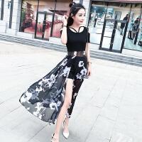 时尚套装女韩版印花短袖拼接前开叉连衣裙+高腰短裤两件套夏